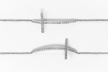 Sterling Silver Cross Bracelet CZ Stones