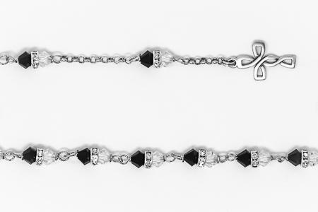 Black Swarovski Crystal Silver Rosary Bracelet