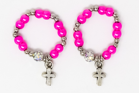 Pink Finger Rosary Ring.