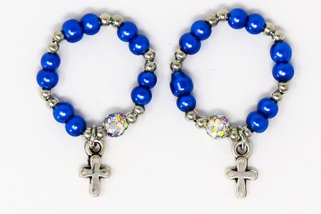 Blue Finger Rosary Ring.