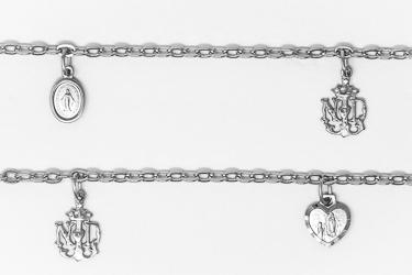 Lourdes Emblem Sterling Silver Bracelet with 3 Medals