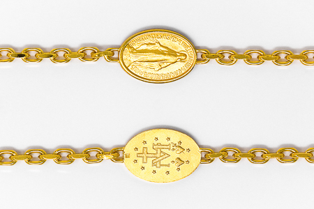 18 Carat Gold Plated Miraculous Medal Bracelet