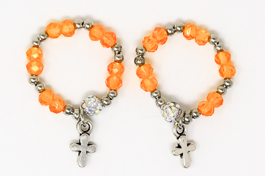 Orange Crystal Finger Rosary Ring.