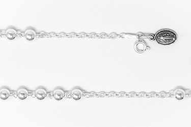 925 Sterling Silver Rosary Bracelet with a Miraculous Medal