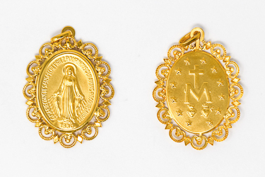 Miraculous Medal 18 & 9 kt Gold.