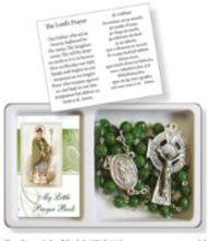 Glass Shamrock Rosary & Small Book Set