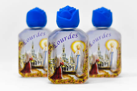 3 Beautiful Color Bottles of Lourdes Holy Water