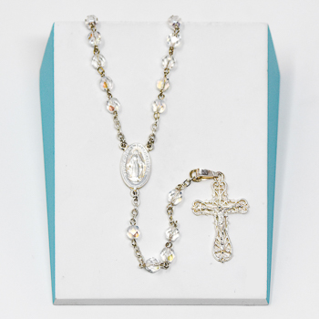 925 Tin Cut Crystal Rosary.