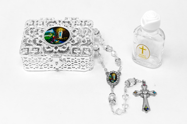 Lourdes Water Pendant & Rosary Gift Set.