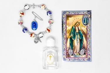 Miraculous Medal Glass Bracelet Gift Set..