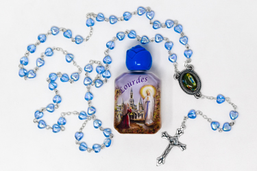 Heart Rosary & Lourdes Water Gift Set.