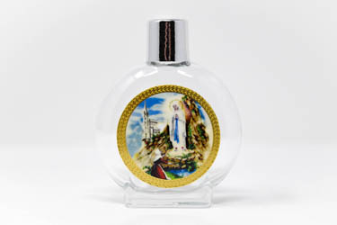 Lourdes Color Round Glass Holy Water Bottle