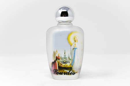 Lourdes Holy Water in a Oval Glass Bottle