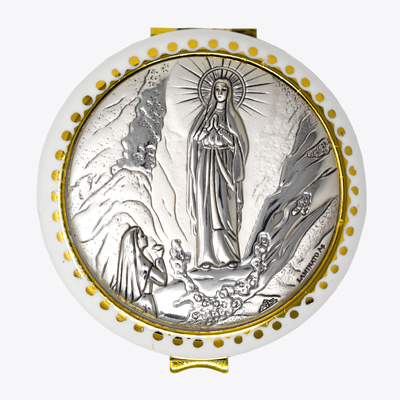 Lourdes Silver Plated Rosary Box.