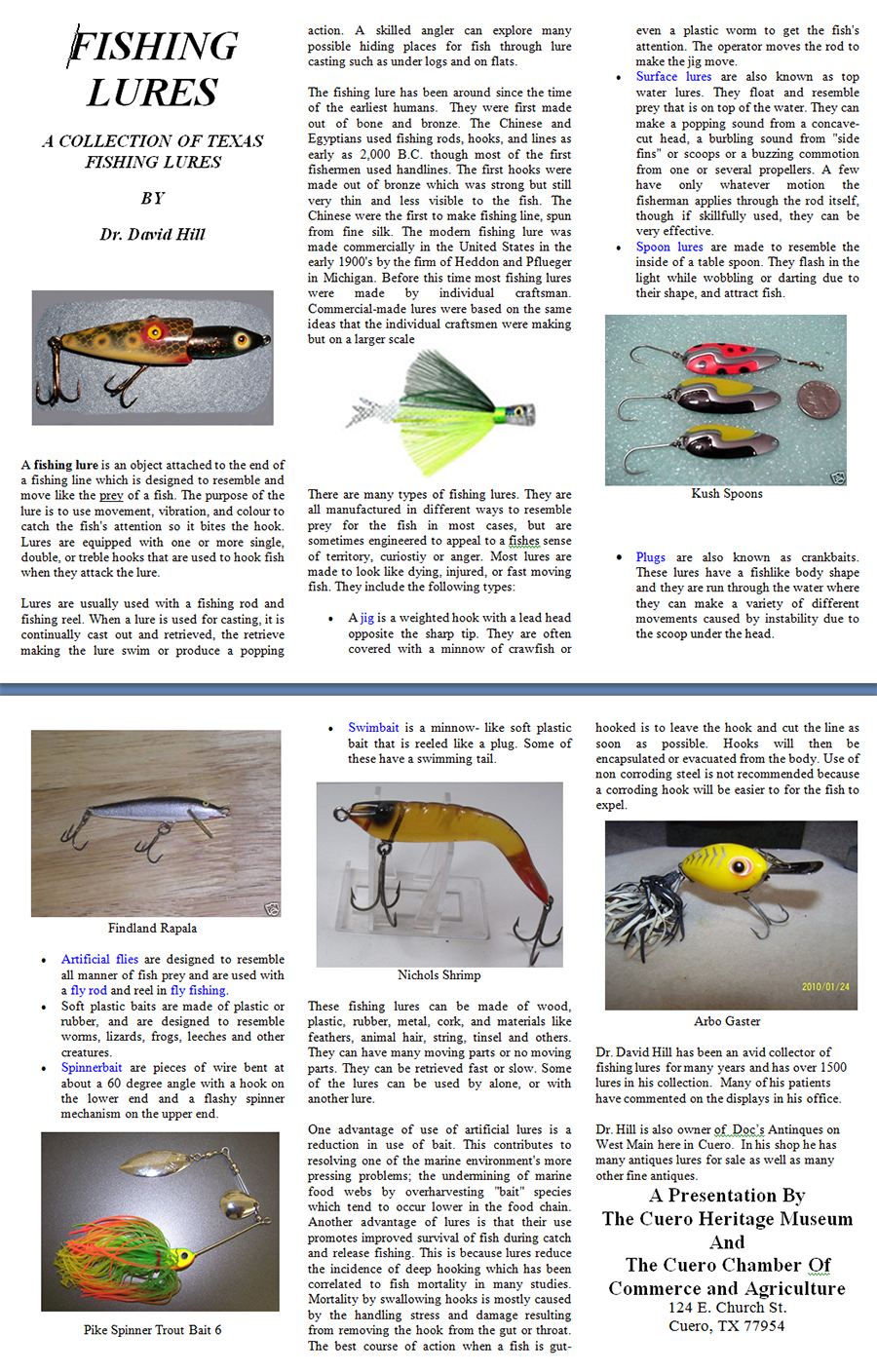 a collection of texas fishing lures permanent collection