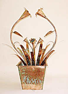 Small Tabletop Copper Fountain With Tulip Shape Flowers
