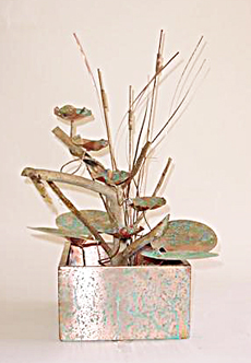 Lillypad and driftwood copper fountain
