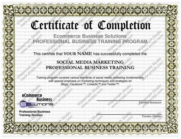 Sample Social Media Marketing Certificate