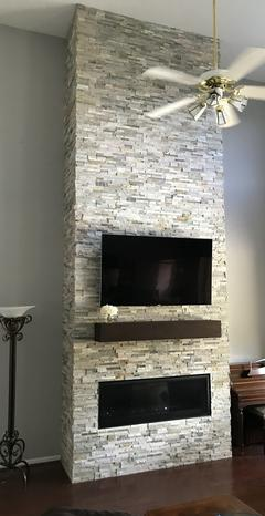 Grey Stone -Gas Fireplace -Mantle