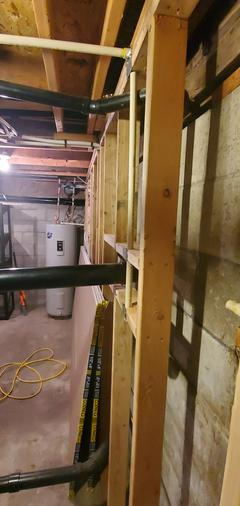 Framing around pluming in a soon to be finished basement