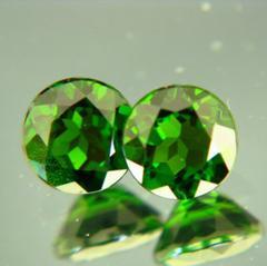 pair green tsavorite garnets